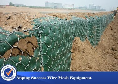 Cina PVC Dilapisi Hot Disped Gabion Wire Mesh Untuk Flood Bank Customized Length pabrik